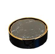 L&M Onderzetters Zwart Goud Marbel - 6 Stuks
