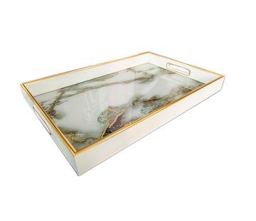 L&M Dienblad Rechthoek - Wit Marbel Met Goud