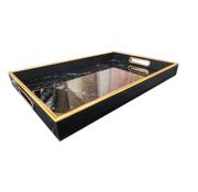 L&M Dienblad Rechthoek - Zwart Marbel Met Goud
