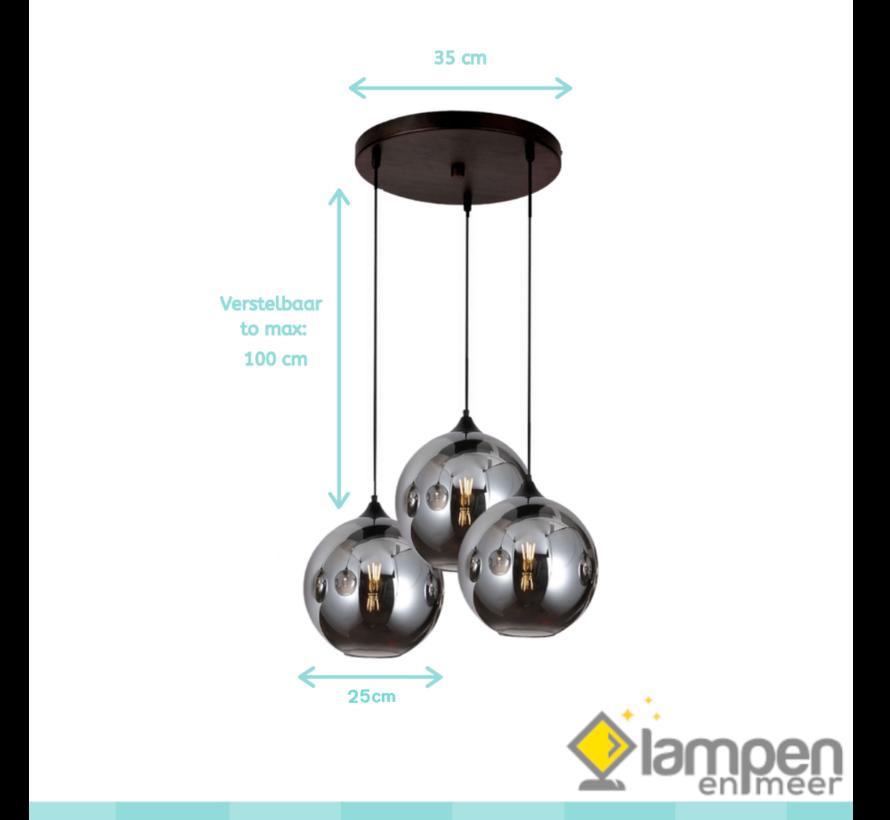 Hanglamp Illusion Smoking glass 3 lichts - ⌀25