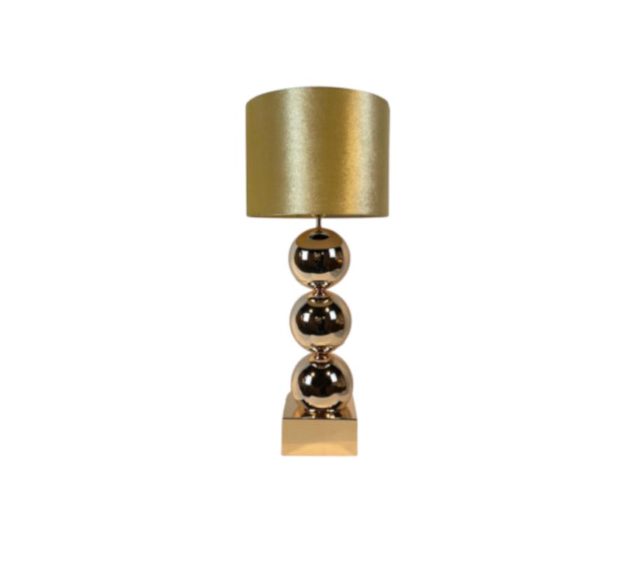 Bollamp - Goud - Tafellamp - 3 Brede Bollen - Vierkante Voet
