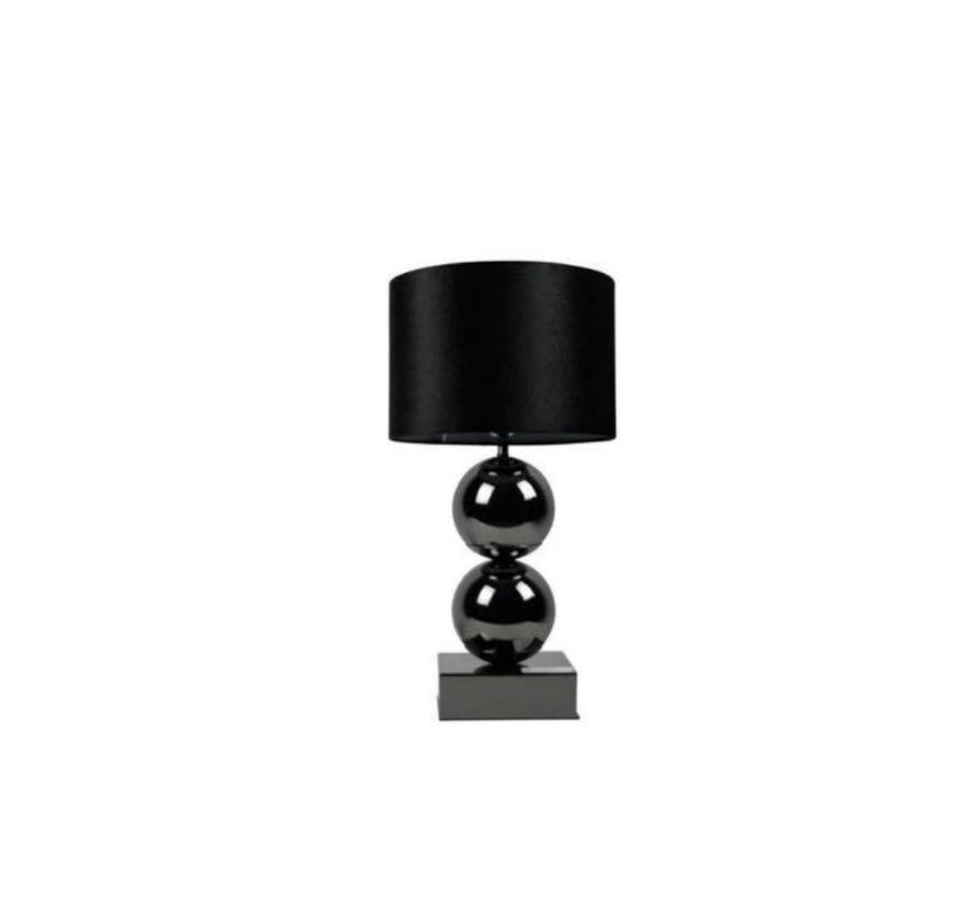 Bollamp - Antraciet - Tafellamp - 2 Brede Bollen - Vierkante Voet