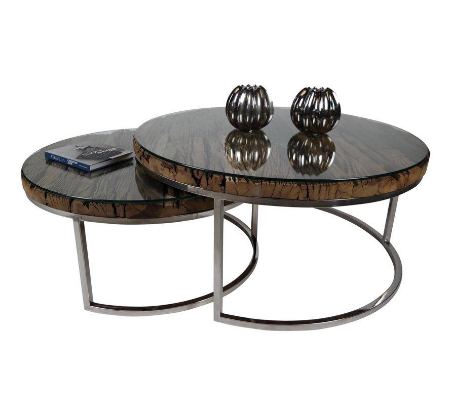 Salontafel Sleeper Wood set van 2 rond - Hout
