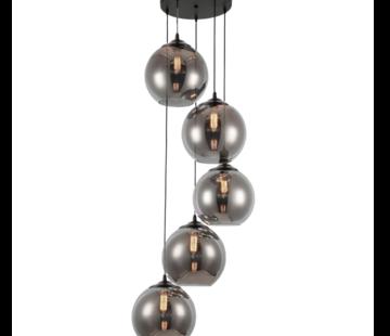 Eric Kuster Style Hanglamp Illusion - 5 lichts ( Smoking glass )