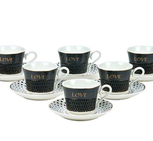 Bricard porcelain Bricard Koffie Set Love  Black 12-Delig