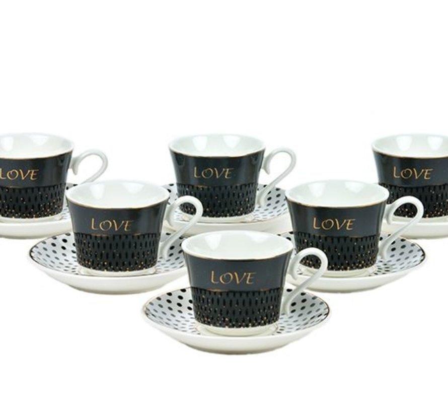 Bricard Koffie Set Love  Black 12-Delig