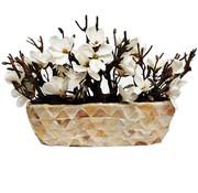 Eric Kuster Style Schelpenvaas - Royal White - Lange Model - Magnolia Bloemen