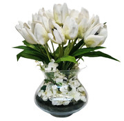 Eric Kuster Style Transparante Vaas - Royal - Witte Tulpen