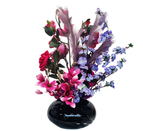 Eric Kuster Style Black Glass Vaas - Rainbow - Mix Bloemen