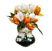 Eric Kuster Style Transparante Vaas - Royal - Oranje en Witte Tulpen