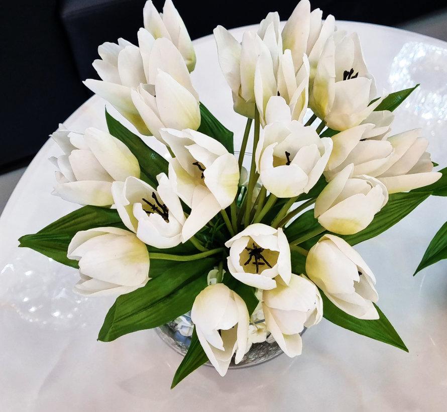 Transparante Vaas - Royal - Witte Tulpen