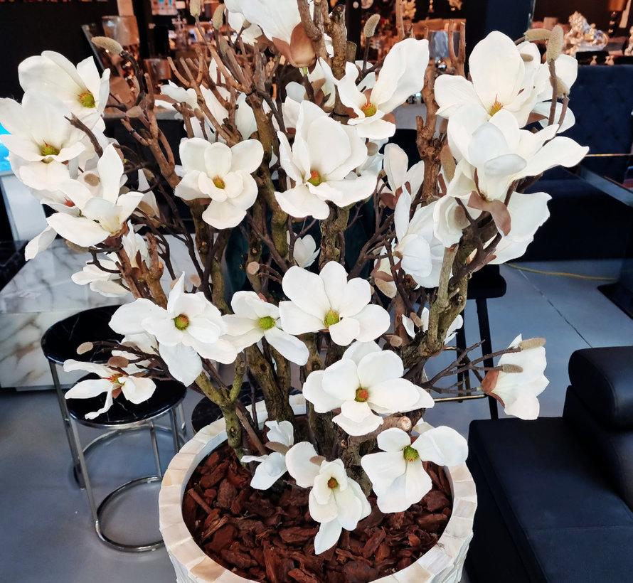 Schelpenvaas - Emily - Witte Magnolia Bloemen