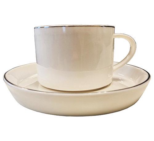 Bricard porcelain Koffieset Paris -Porselein -Wit/Zilver-12 Delig