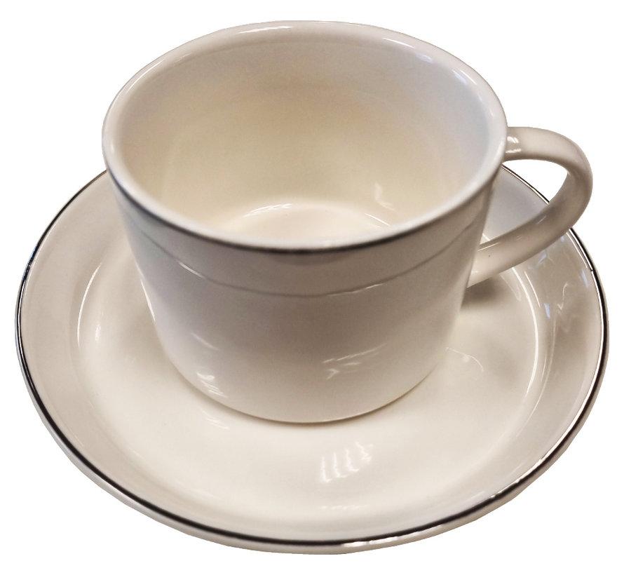 Koffieset Paris -Porselein -Wit/Zilver-12 Delig