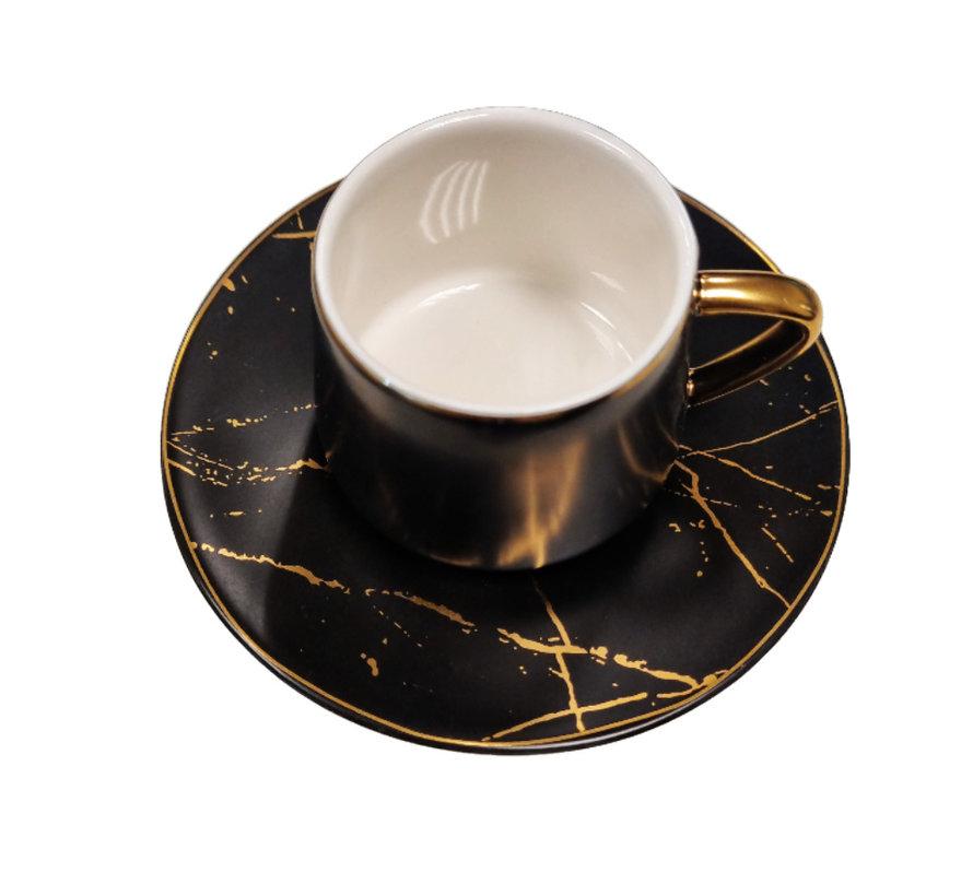 Espressoset - Madrid - Marmer Zwart Goud