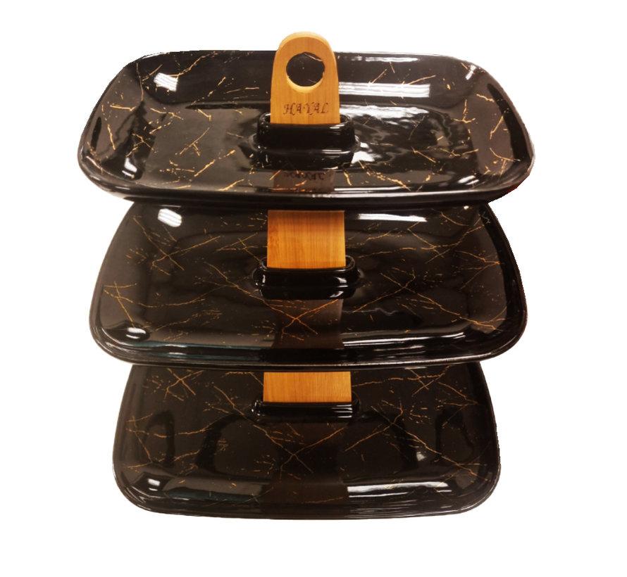 High Tea - 3-laags - Black Pearl - Zwart en Goud
