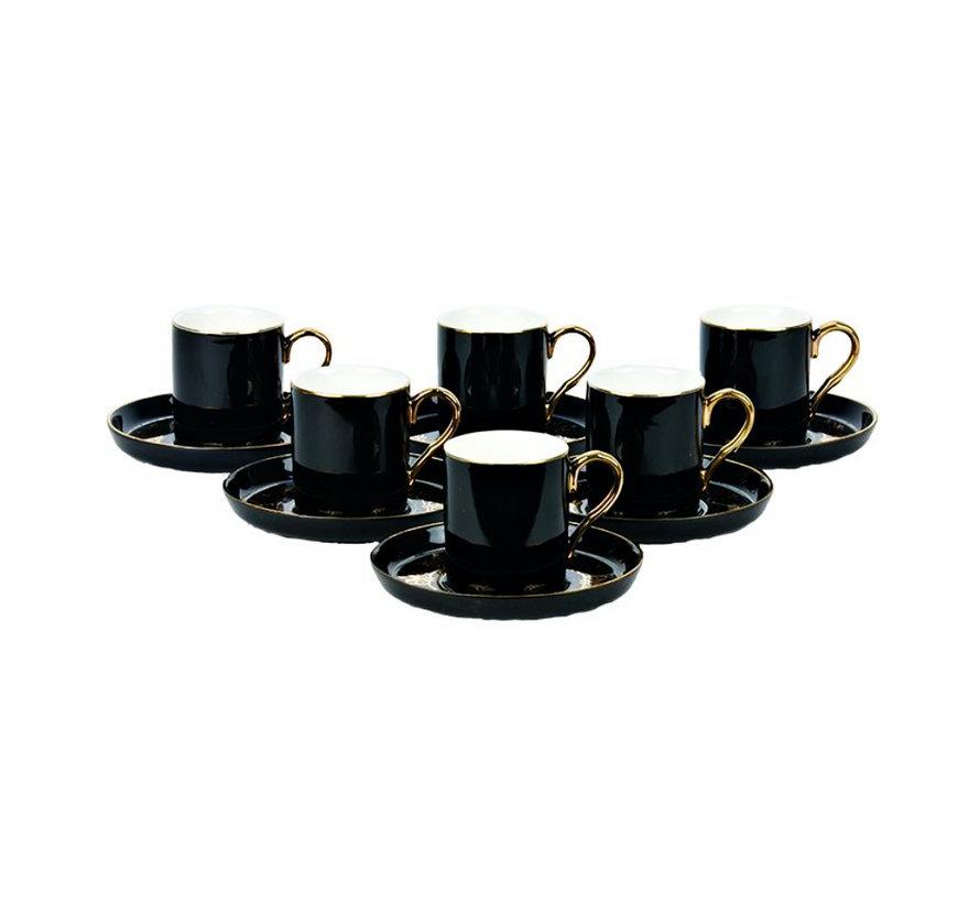 Bricard espresso set - Poitiers - Black 12-delig