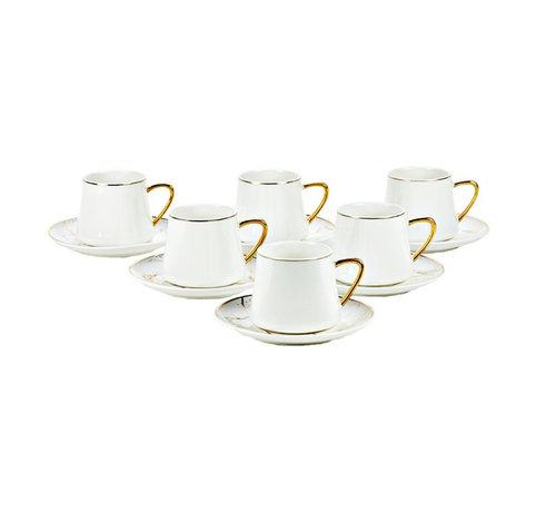 Bricard Bricard Marmer koffie set - Roma -  White 12-delig