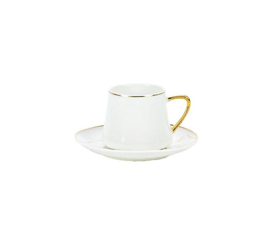 Bricard Marmer koffie set - Roma -  White 12-delig