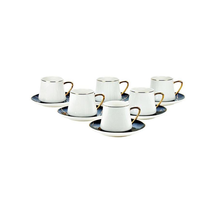 Bricard Marmer koffie set - Roma -  Black 12-delig