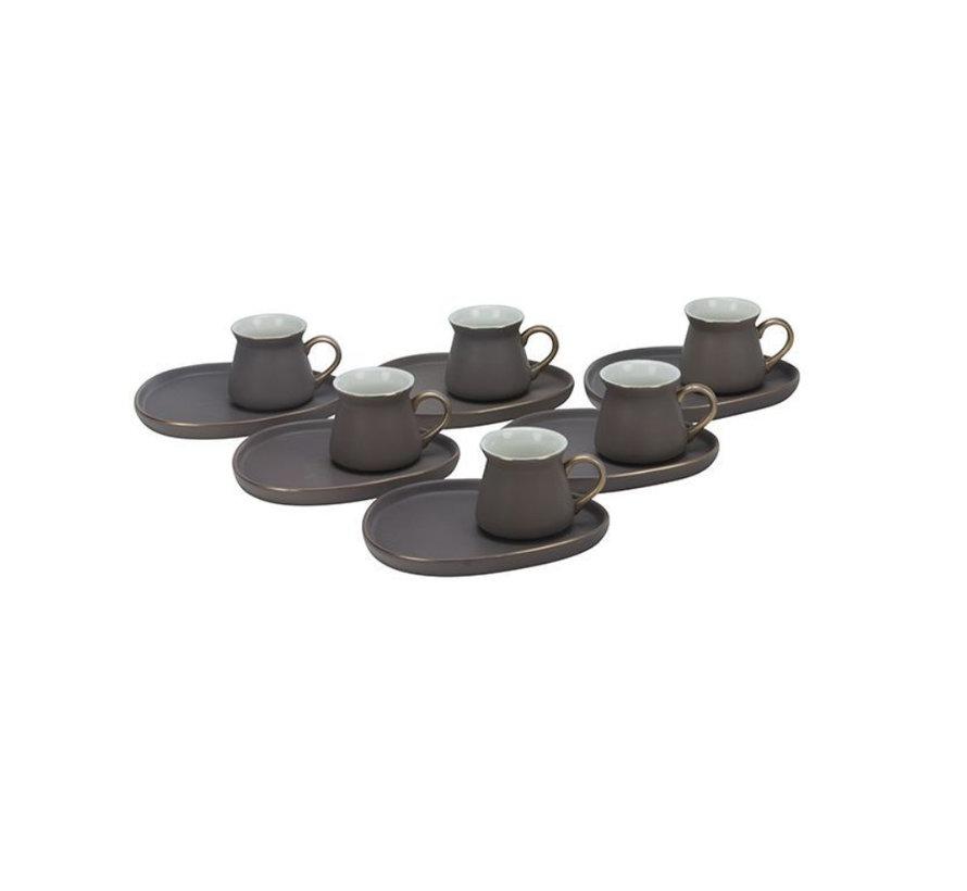 Bricard Oval espresso set - Cartagena -  Brown 12-delig