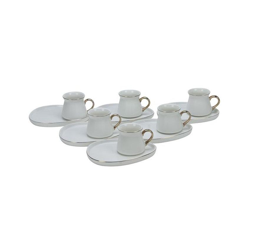 Bricard Oval espresso set - Cartagena -  White 12-delig