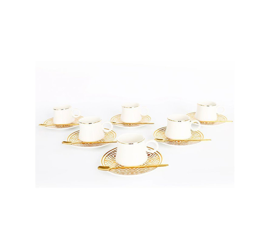 Bricard thee-espresso set - Tangier - Gold 24-delig