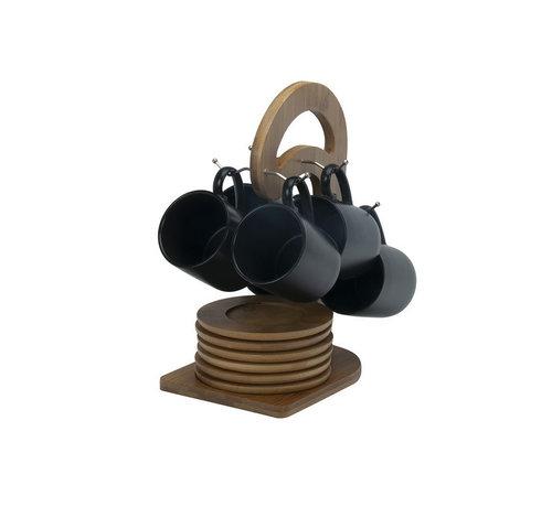 Bricard Bricard mokkenset groot - Geneva -  Black 25-delig