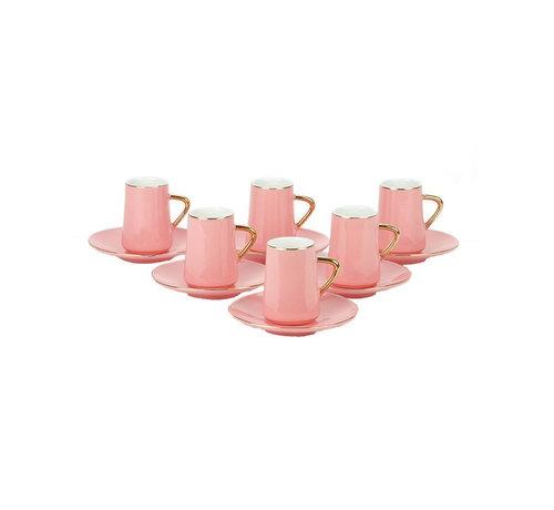 Bricard Bricard espresso set - Trapani - Pink/Gold 12-delig