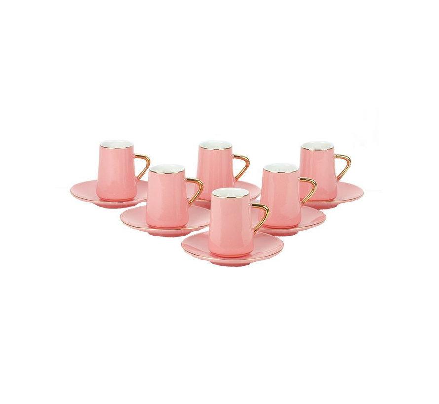 Bricard espresso set - Trapani - Pink/Gold 12-delig