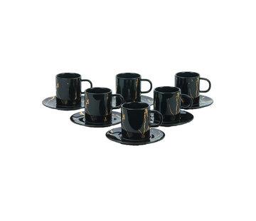 Bricard Bricard koffieset - Denia -  Black 12-delig
