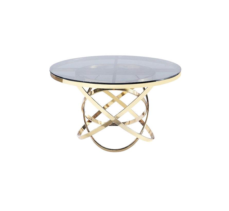 Eettafel - Natasha - Goud, Zwart (Transparant)