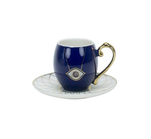 Turkish Koffieset - Eslem - Blauw/Wit 12-delig