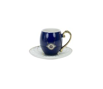 Turkish Espressoset - Eslem - Blauw/Wit 12-delig