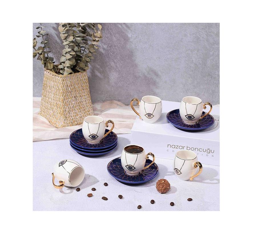 Turkish Espressoset - Eslem - Wit/Blauw 12-delig
