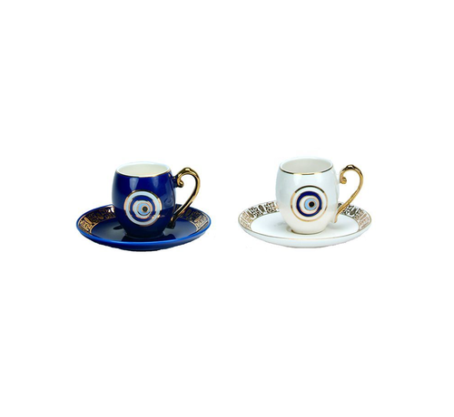 Turkish Espressoset - Eslem - Blauw/Wit 4-delig