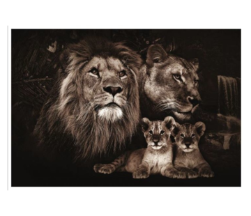 L&M Collections Lion King Familie  Glasschilderij 160x110