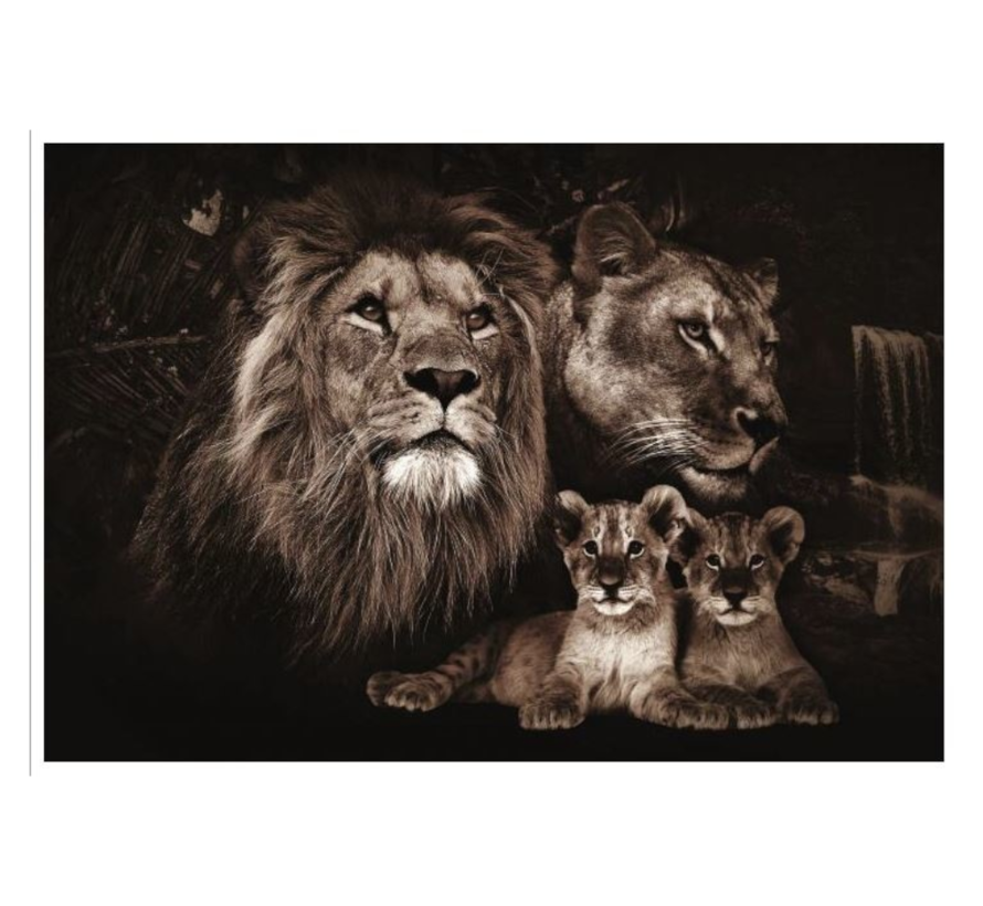 Lion King Familie  Glasschilderij 160x110