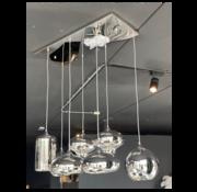 Eric Kuster Style Hanglamp - Remix Zilver - 7 Bollen (Smoking Glass)