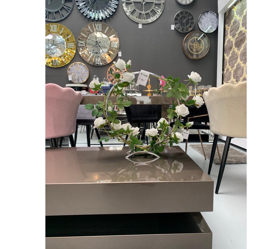Kunst Cirkel Bloem - Ariya - White Roses - Silver Cirkle