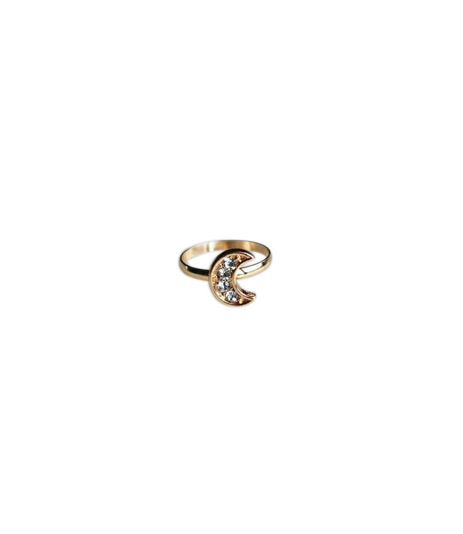 Diamond Moon Ring - Gold Plated
