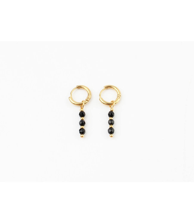 Mon cheri earrings black - stainless steel