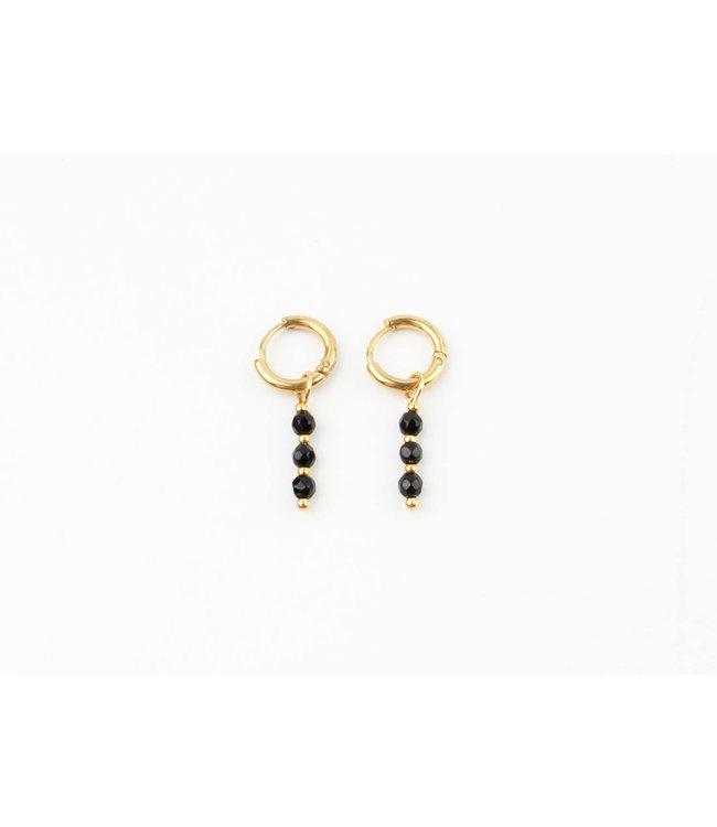 Mon cheri earrings black - stainless steel