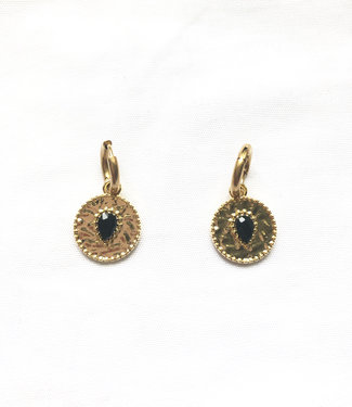'Lina' Earrings Gold with a black stone - stainless steel