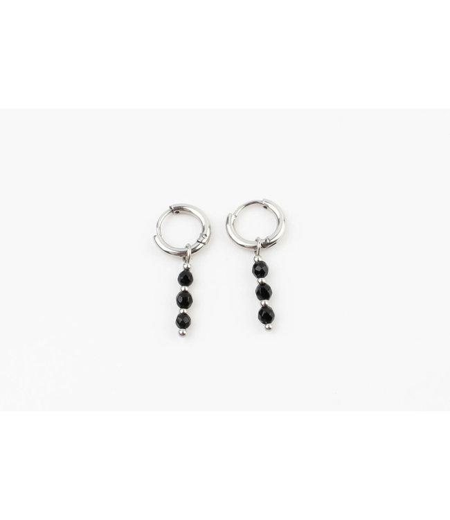 Mon Cheri Earrings Silver & Black - Stainless Steel