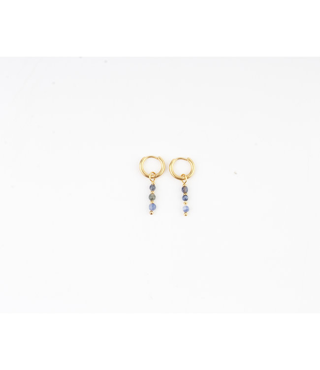 MON CHERI EARRINGS GOLD & BLUE - STAINLESS STEEL