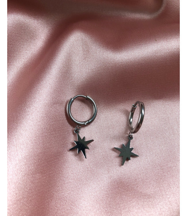 NORTHERN STAR EARRINGS SILVER - STAINLESS STEEL