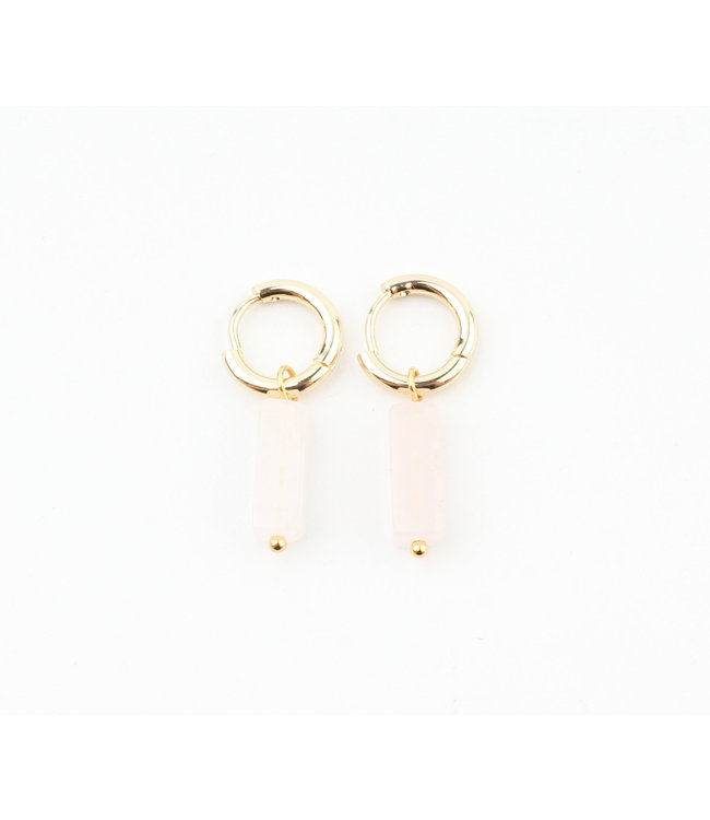 DORA HOOPS SOFT PINK ROSE QUARTZ GOLD - STAINLESS STEEL