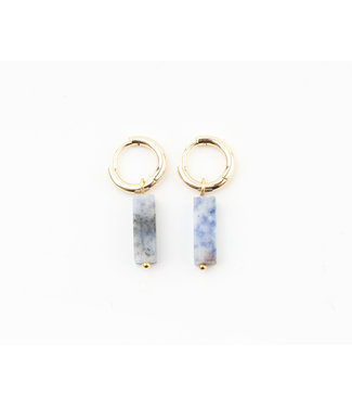 DORA HOOPS BLUE NATURAL STONE GOLD - STAINLESS STEEL