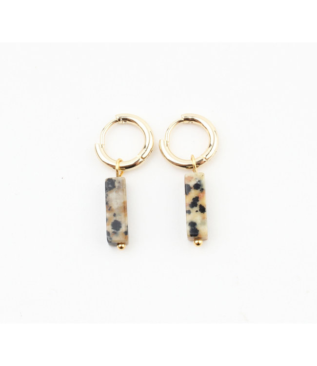 Dora Hoops Leopard NATURAL STONE GOLD - STAINLESS STEEL